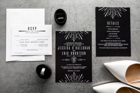 Art Deco black and silver wedding invitations